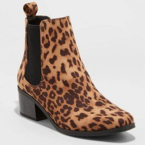 A NEW DAY Ellie Leopard Chelsea Ankle Booties